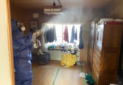 消毒剤散布作業