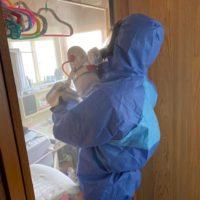 除菌剤散布作業